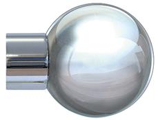 Jones Strand 35mm Curtain Pole Finial Only, Metal Ball, Chrome