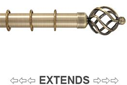 Kestrel Cambridge 25mm-28mm Extendable Curtain Pole, Antique Brass, Cage
