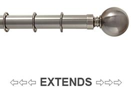 Kestrel Cambridge 25mm-28mm Extendable Curtain Pole, Pewter, Ball