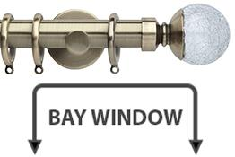 Neo Style 28mm Bay Window Curtain Pole Spun Brass Crackled Glass Ball