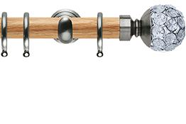 Neo 28mm Oak Wood Curtain Pole, Stainless Steel Cup, Jewelled Ball