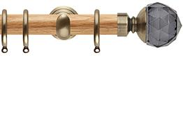 Neo 28mm Oak Wood Curtain Pole, Spun Brass Cup, Smoke Grey Faceted Ball