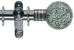 Galleria 35mm Brushed Silver Curtain Pole, Mozaic Glass Ball
