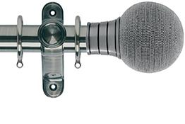 Galleria 35mm Brushed Silver Curtain Pole, Beaded Ball