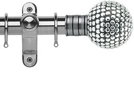 Galleria 35mm Brushed Silver Curtain Pole, Shiny Studded Ball
