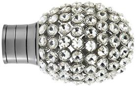 Galleria and G2 Galleria 50mm Finial Only, Brushed Silver, Clear Jewelled Bulb