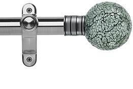 Galleria 35mm Eyelet Curtain Pole Brushed Silver, Mozaic Glass Ball