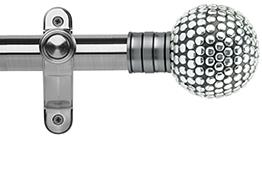 Galleria 35mm Eyelet Curtain Pole Brushed Silver, Shiny Studded Ball