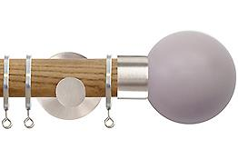 Jones Strand 35mm Wood Curtain Pole Light Oak, Matt Nickel Painted Ball, Heather