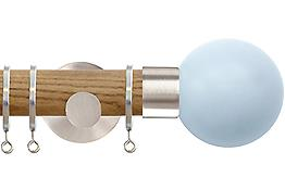 Jones Strand 35mm Wood Curtain Pole Light Oak, Matt Nickel Painted Ball, Sky