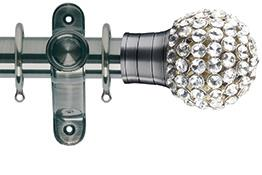 G2 Galleria 35mm Brushed Silver Curtain Pole, Clear Jewelled Cage Finial