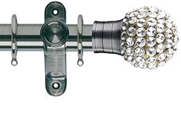 G2 Galleria 50mm Brushed Silver Curtain Pole, Clear Jewelled Cage Finial