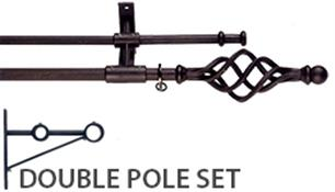 Artisan Wrought Iron Double Curtain Pole 12mm/16mm Cage