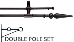 Artisan Wrought Iron Double Curtain Pole 12mm/16mm Ball and Spear