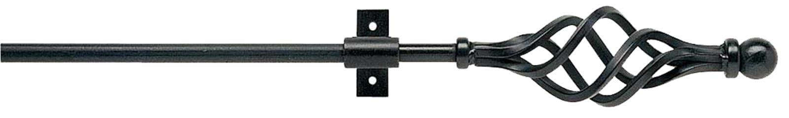 Artisan Black Wrought Iron 12mm Curtain Pole in Black with Cage finials