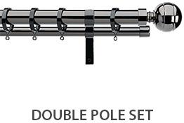 Integra Double Layer Curtain Pole Black Nickel