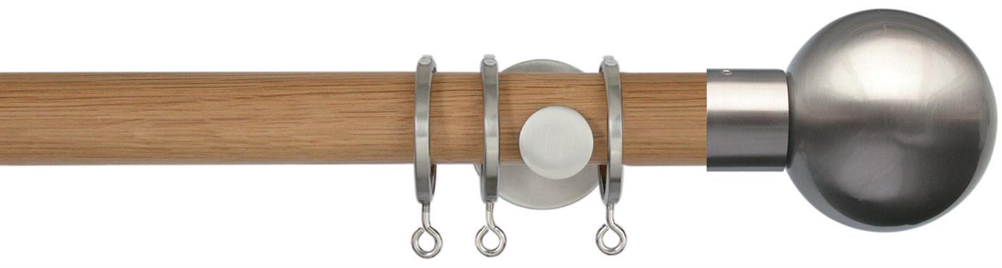 Jones Lunar Wood Curtain Pole 28mm in Oak and Matt Nickel fittings with Matt Nickel Sphere Ball finials