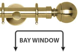 Neo 28mm Bay Window Curtain Pole Spun Brass Ball