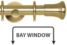 Neo 28mm Bay Window Curtain Pole Spun Brass Trumpet