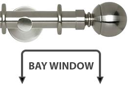 Neo 28mm Bay Window Curtain Pole Stainless Steel Ball