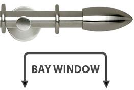Neo 28mm Bay Window Curtain Pole Stainless Steel Bullet