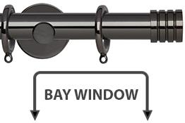 Neo 28mm Bay Window Curtain Pole Black Nickel Stud
