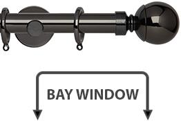 Neo 28mm Bay Window Curtain Pole Black Nickel Ball
