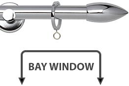 Neo 19mm Bay Window Curtain Pole Chrome Bullet