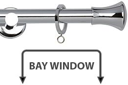 Neo 19mm Bay Window Curtain Pole Chrome Trumpet