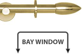 Neo 19mm Bay Window Curtain Pole Spun Brass Bullet