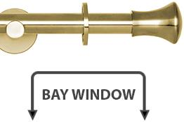 Neo 19mm Bay Window Curtain Pole Spun Brass Trumpet