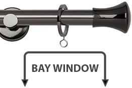 Neo 19mm Bay Window Curtain Pole Black Nickel Trumpet