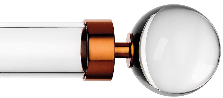 Byron & Byron Halo 35mm, 45mm, 55mm Acrylic curtain pole with Globus finials and Copper metal brackets and metal rings