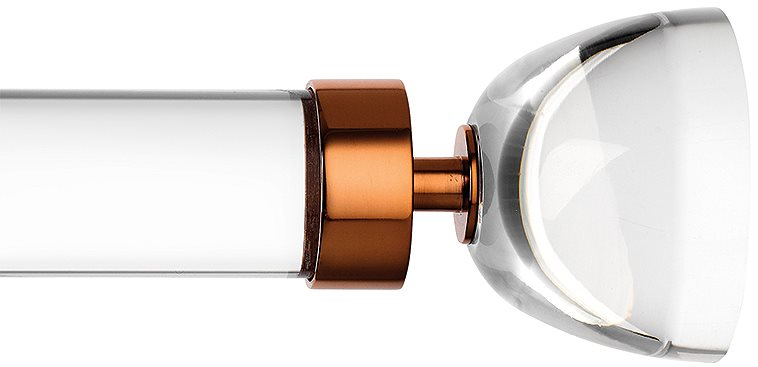 Byron & Byron Halo 35mm, 45mm Acrylic curtain pole with Luna finials and Copper metal brackets and acrylic rings