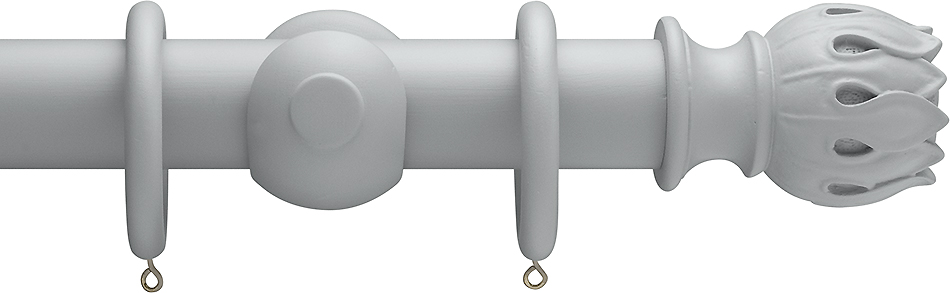 Advent Shades of Grey, 35mm Wood Curtain Pole in Warm Grey with Waterlily finials